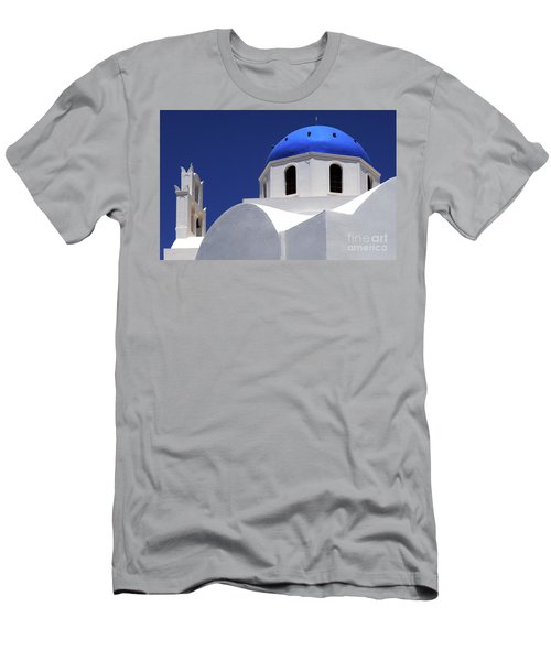 Men's T-Shirt (Slim Fit) featuring the photograph Santorini Greece Architectual Line 2 by Bob Christopher