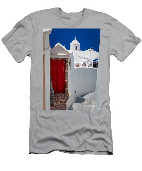 Santorini Red Door Men's T-Shirt (Athletic Fit)