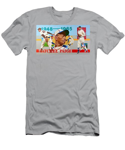 Men's T-Shirt (Slim Fit) featuring the painting Satchel Paige by Cliff Spohn