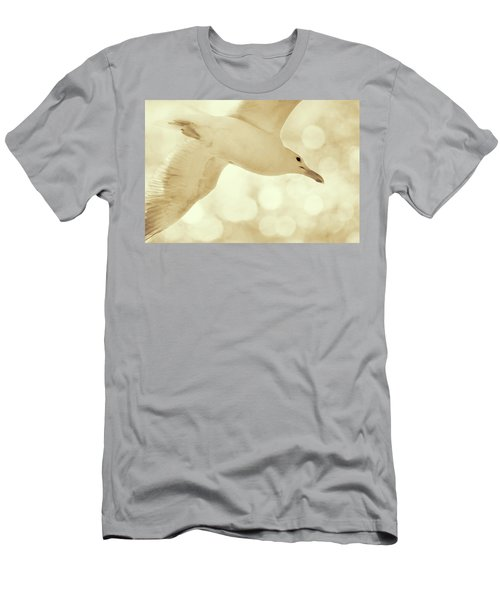 Men's T-Shirt (Slim Fit) featuring the photograph Sea Gull On Neutral Bokeh Background by Peggy Collins