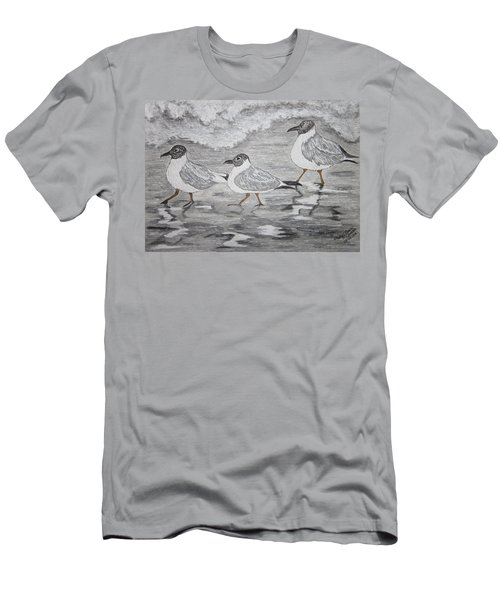 Men's T-Shirt (Slim Fit) featuring the painting Sea Gulls Dodging The Ocean Waves by Kathy Marrs Chandler