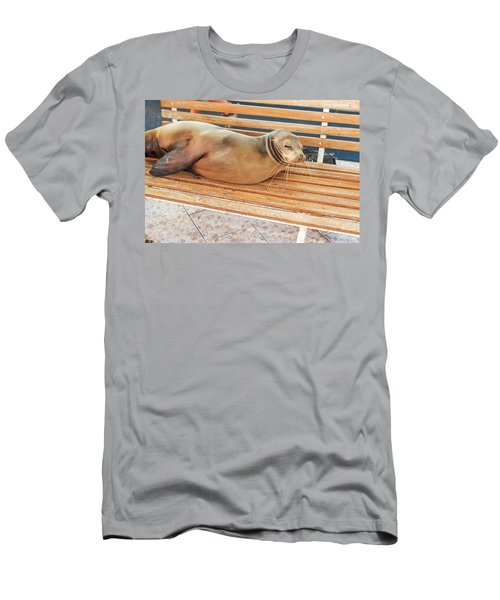 Sea Lion On A Bench, Galapagos Islands Men's T-Shirt (Slim Fit) by Marek Poplawski