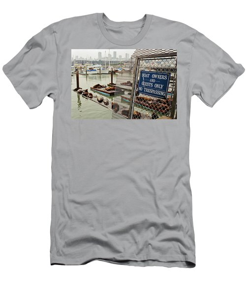 Men's T-Shirt (Athletic Fit) featuring the photograph Sea Lions Take Over, San Francisco by Frank DiMarco