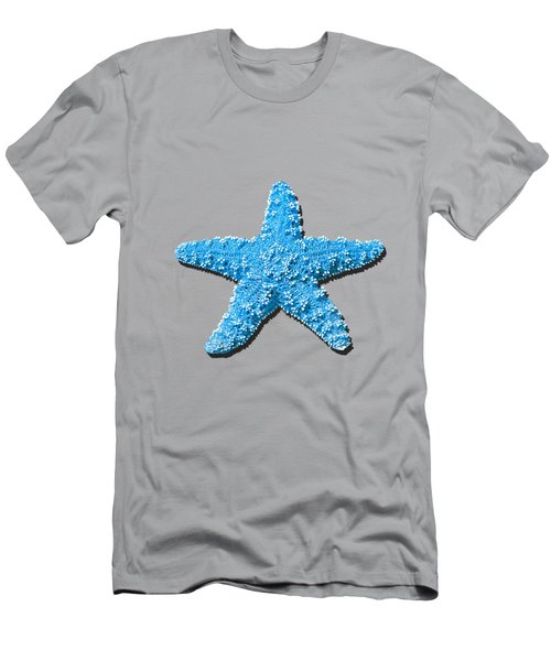 Men's T-Shirt (Slim Fit) featuring the photograph Sea Star Light Blue .png by Al Powell Photography USA