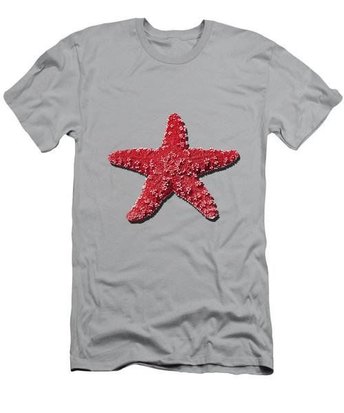 Men's T-Shirt (Slim Fit) featuring the photograph Sea Star Red .png by Al Powell Photography USA