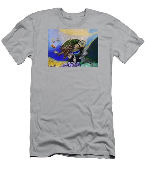 Men's T-Shirt (Athletic Fit) featuring the painting Sea Turtle Acrylic Painting by Thomas J Herring