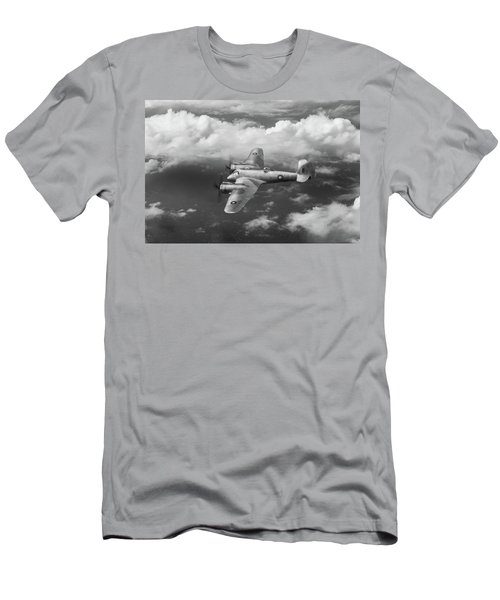 Men's T-Shirt (Athletic Fit) featuring the photograph Seac Beaufighter Bw Version by Gary Eason
