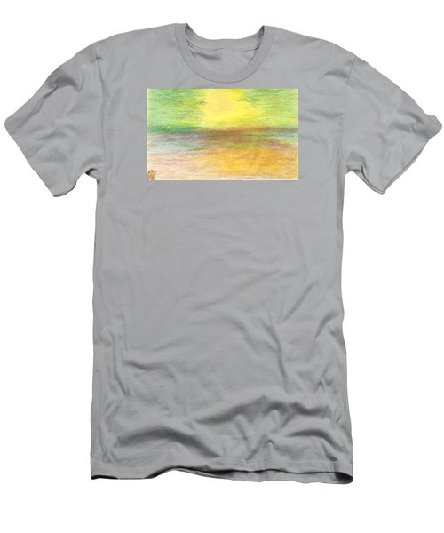 Men's T-Shirt (Slim Fit) featuring the drawing Seascape by Karen Nicholson