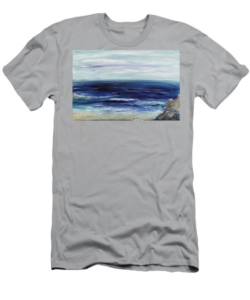 Seascape With White Cats Men's T-Shirt (Athletic Fit)