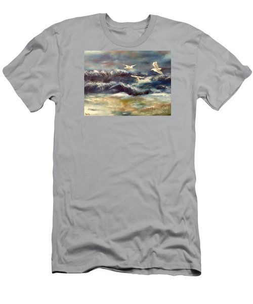 Men's T-Shirt (Slim Fit) featuring the painting Seaside Serenade by Denise Tomasura