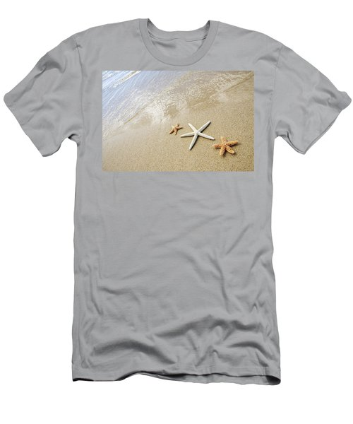 Seastars On Beach Men's T-Shirt (Slim Fit) by Mary Van de Ven - Printscapes