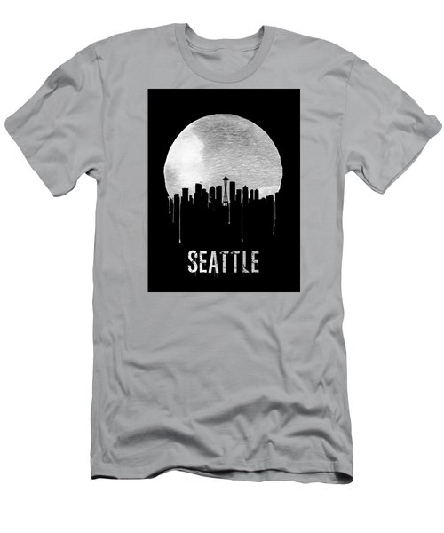 Seattle Skyline Black Men's T-Shirt (Slim Fit) by Naxart Studio