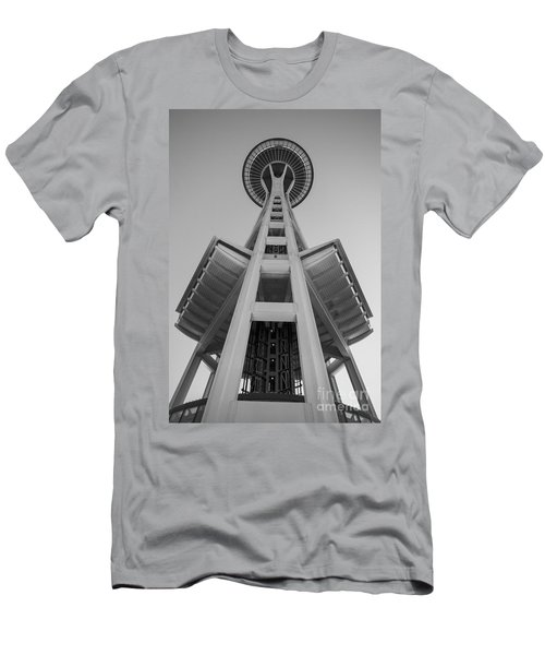 Seattle Space Needle In Black And White Men's T-Shirt (Slim Fit) by Patrick Fennell