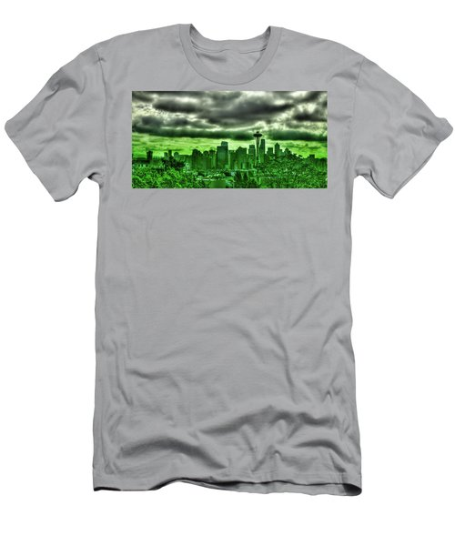 Seattle - The Emerald City Panorama Men's T-Shirt (Slim Fit) by David Patterson