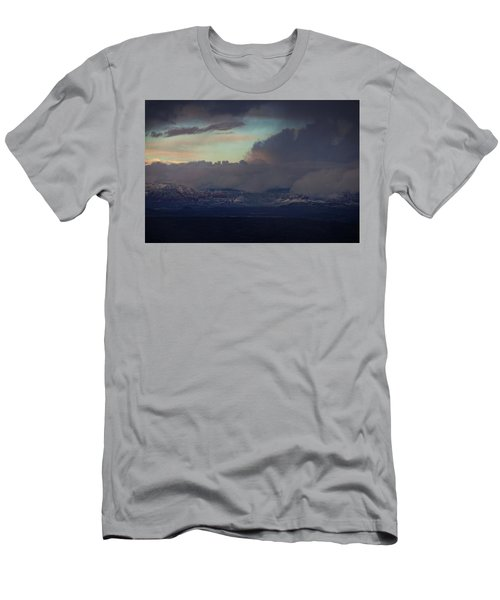 Men's T-Shirt (Slim Fit) featuring the photograph Sedona At Sunset With Red Rock Snow by Ron Chilston