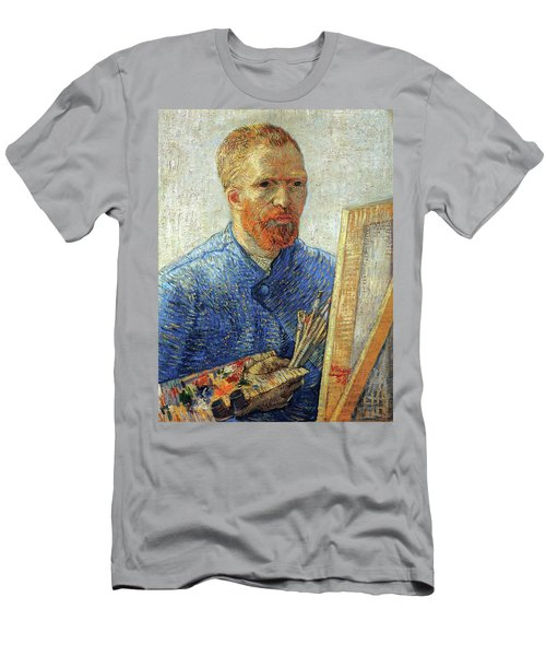 Men's T-Shirt (Athletic Fit) featuring the painting Self Portrait As An Artist by Van Gogh
