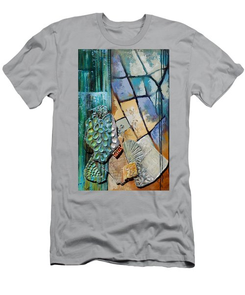 Men's T-Shirt (Slim Fit) featuring the painting Shards Water Clay And Fire by Suzanne McKee