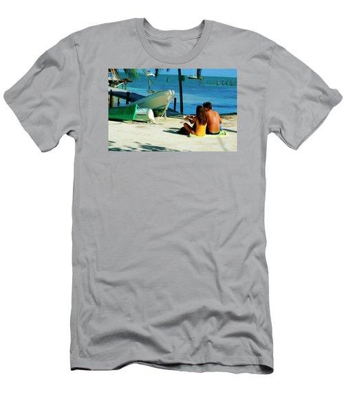 Sharing A Coconut On Caye Caulker, Belize Men's T-Shirt (Athletic Fit)