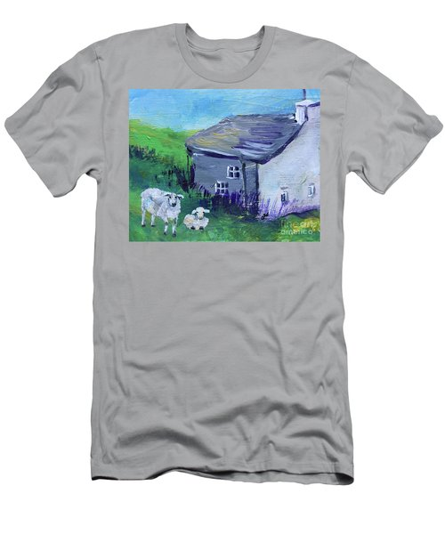 Men's T-Shirt (Athletic Fit) featuring the painting Sheep In Scotland  by Claire Bull