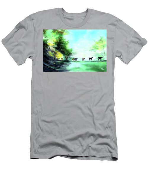 Men's T-Shirt (Slim Fit) featuring the painting Shepherd by Anil Nene