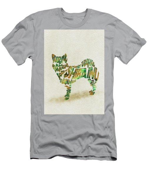 Men's T-Shirt (Athletic Fit) featuring the painting Shiba Inu Watercolor Painting / Typographic Art by Inspirowl Design