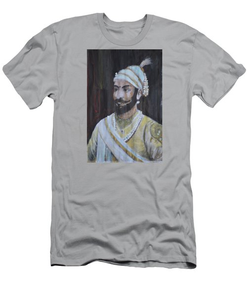 Men's T-Shirt (Slim Fit) featuring the painting Shivaji Maharaj by Vikram Singh