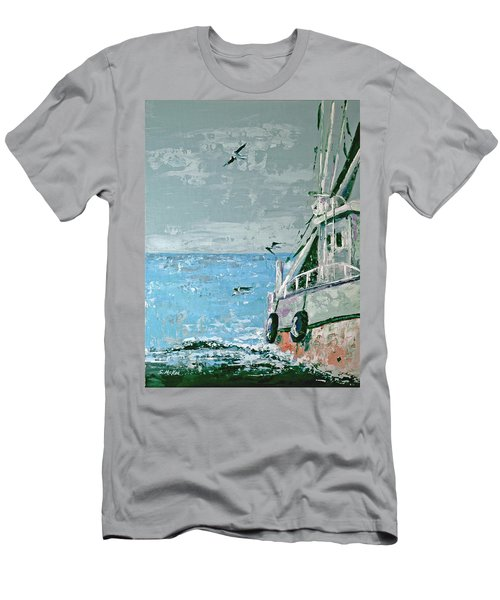 Men's T-Shirt (Slim Fit) featuring the painting Shrimp Boat In The Gulf by Suzanne McKee