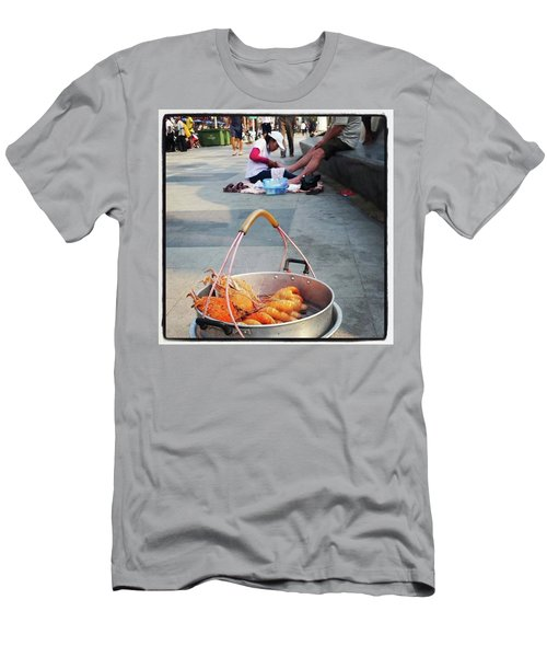 Men's T-Shirt (Athletic Fit) featuring the photograph Shrimping And Crabbing On The by Mr Photojimsf
