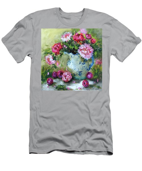 Shy Plums And Pink Peonies Men's T-Shirt (Athletic Fit)
