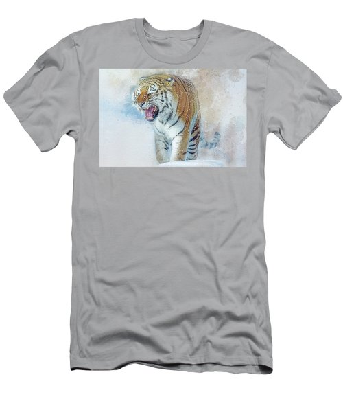 Siberian Tiger In Snow Men's T-Shirt (Slim Fit) by Brian Tarr