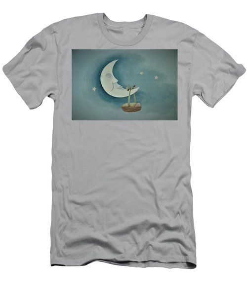 Silver Moon With Picnic Basket Men's T-Shirt (Athletic Fit)