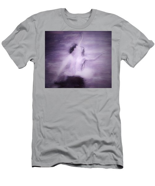 Men's T-Shirt (Slim Fit) featuring the painting Swan Lake by Jarko Aka Lui Grande