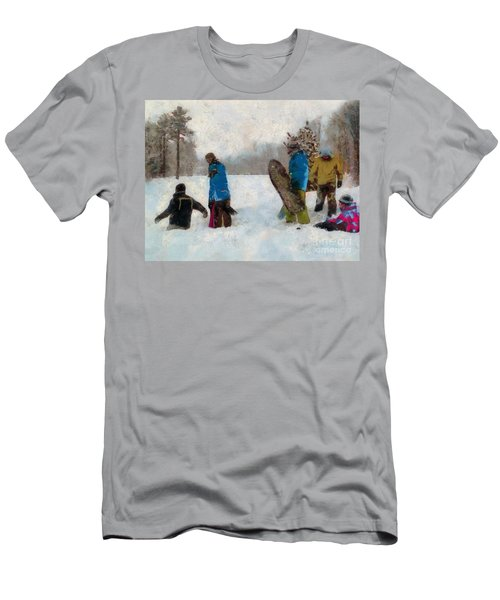 Six Sledders In The Snow Men's T-Shirt (Athletic Fit)