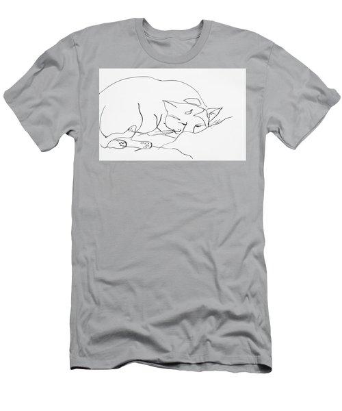Sleeping Cat Men's T-Shirt (Slim Fit) by Leela Payne