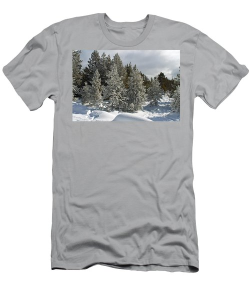 Snow And Ice Covered Evergreens At Sunset Lake  Men's T-Shirt (Athletic Fit)