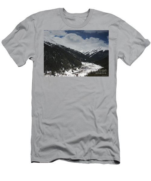 Snow At Independence Pass Colorado Highway 82 Men's T-Shirt (Slim Fit) by Nature Scapes Fine Art