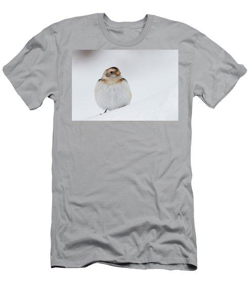 Men's T-Shirt (Athletic Fit) featuring the photograph Snow Bunting - Scottish Highlands by Karen Van Der Zijden