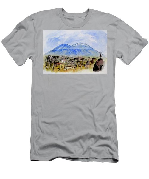 Men's T-Shirt (Athletic Fit) featuring the painting Snow Capped Vesuvio by Clyde J Kell