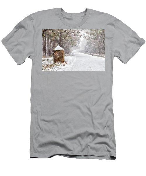Snow Covered Brick Pillar Men's T-Shirt (Athletic Fit)