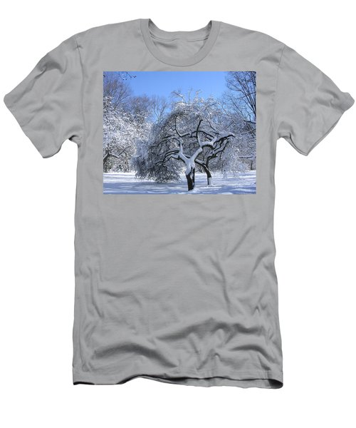 Men's T-Shirt (Slim Fit) featuring the photograph Snow-covered Sunlit Apple Trees by Byron Varvarigos