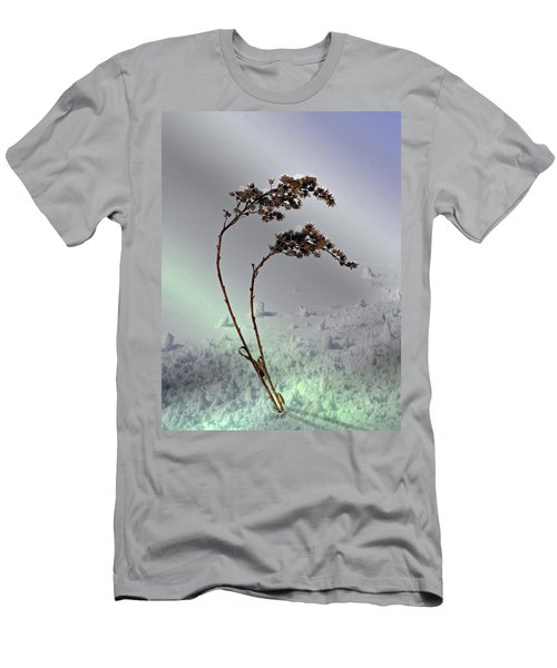 Men's T-Shirt (Slim Fit) featuring the photograph Snow Covered Weeds by Judy Johnson
