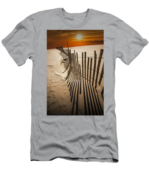 Snow Fence At Sunset Men's T-Shirt (Athletic Fit)