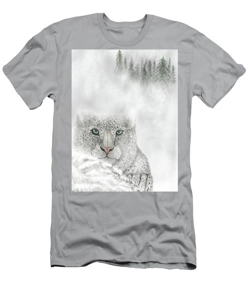 Men's T-Shirt (Athletic Fit) featuring the digital art Snow Leopard by Darren Cannell