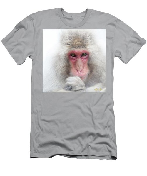 Men's T-Shirt (Athletic Fit) featuring the photograph Snow Monkey Consideration by Rikk Flohr