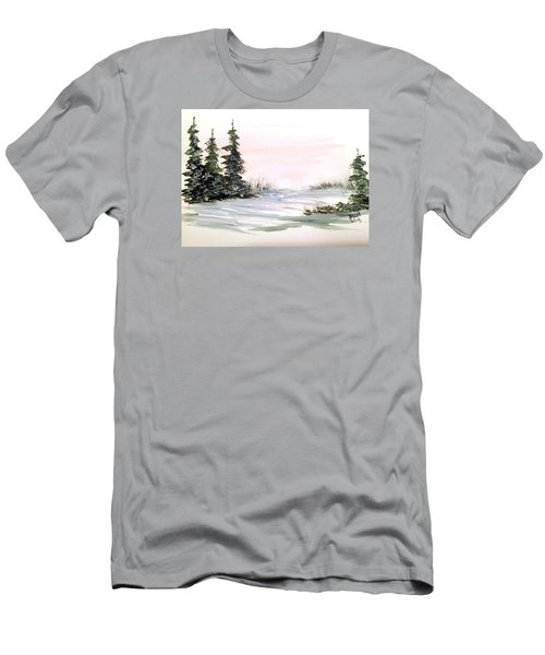 Snow Over The Pasture Men's T-Shirt (Slim Fit) by Dorothy Maier
