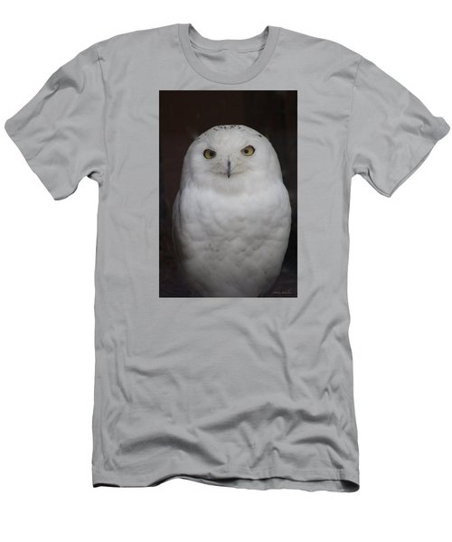 Men's T-Shirt (Slim Fit) featuring the photograph Snow Owl by Debra     Vatalaro
