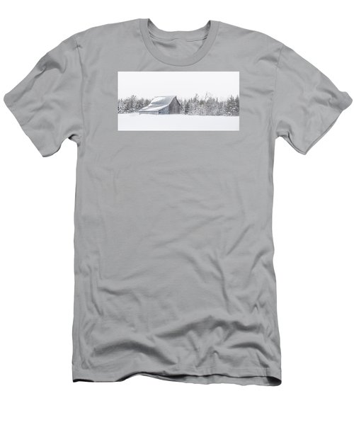 Men's T-Shirt (Slim Fit) featuring the photograph Snowy Barn by Dan Traun