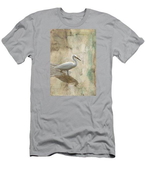 Snowy Egret In Grunge Men's T-Shirt (Slim Fit) by Rosalie Scanlon