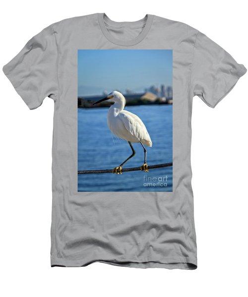 Snowy Egret Portrait Men's T-Shirt (Slim Fit) by Robert Bales