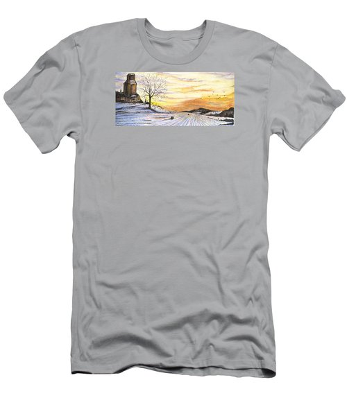 Men's T-Shirt (Athletic Fit) featuring the digital art Snowy Farm by Darren Cannell